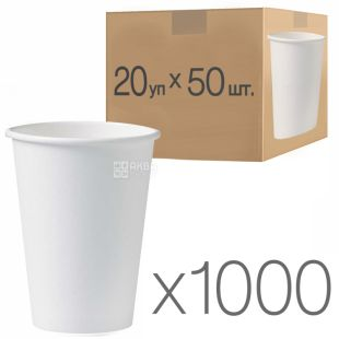 White paper cup 400 ml, 50 pcs., 20 packs, D80