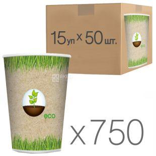 Эко Стакан бумажный с рисунком 400 мл, 50 шт, 15 упаковок, D92