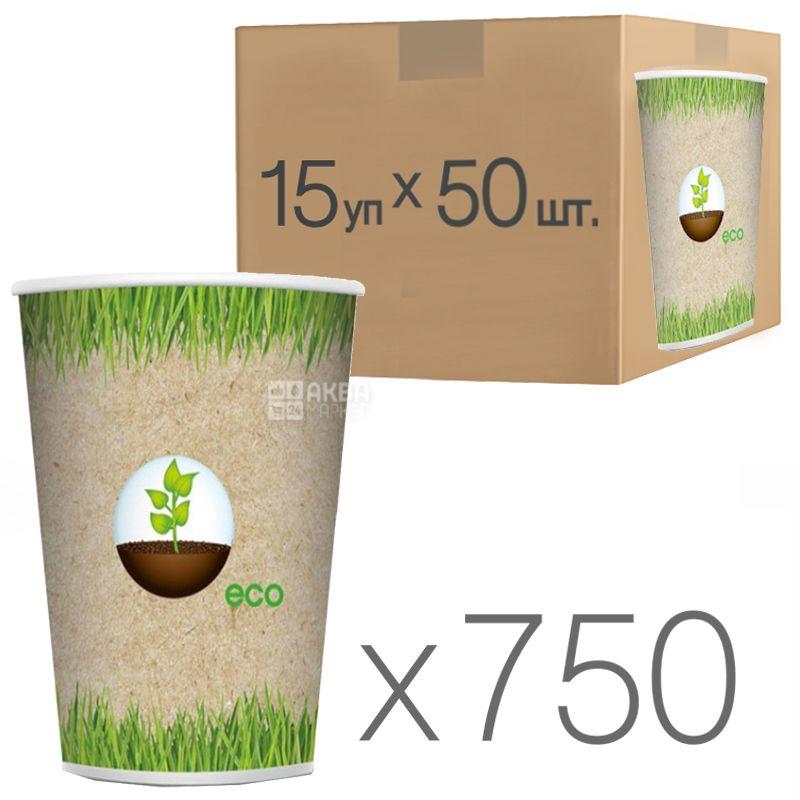 Еко Стакан паперовий з малюнком 400 мл, 50 шт, 15 упаковок, D92