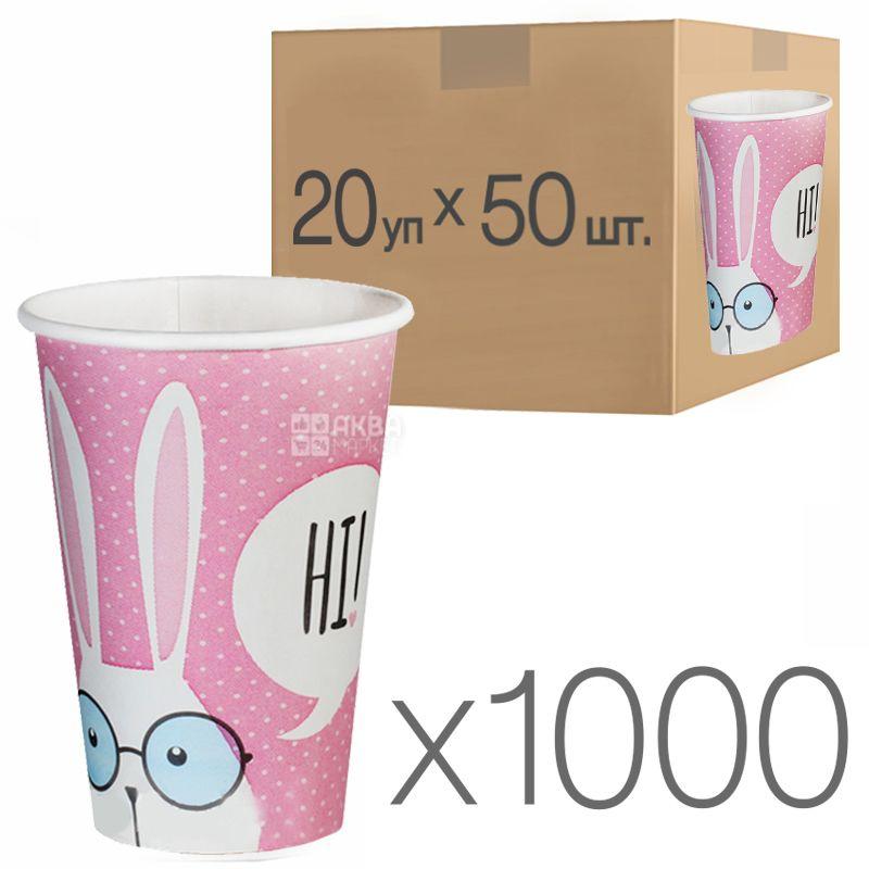 Стакан паперовий з малюнком Зайці 400 мл, 50 шт., 20 упаковок, D80
