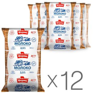 Farm Packaging 12 pcs. 900 g, 2.5%, Milk, Ultrapasteurized