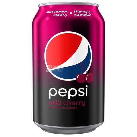 Pepsi-Cola, Wild Cherry, Упаковка 24 шт. по 0,33 л, Пепси-Кола, Вайлд Черри, Дикая Вишня, Вода сладкая, ж/б