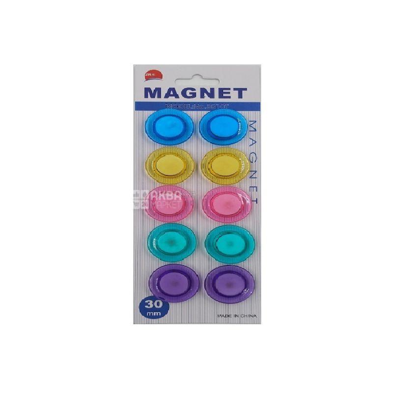 AIHAO, 10 шт., 30 мм, Набір магнітів, Різнокольорові, Блістер