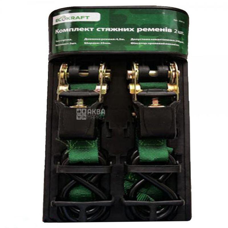 EcoKraft, 2,5 м, Стяжной ремень, Комплект 2 шт., Полиэстер, Зеленый