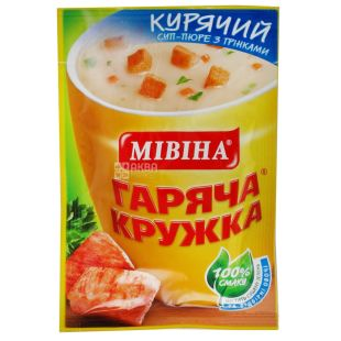 Mivina, 12 g, Cream Soup, Hot Mug, Chicken with Croutons, m / s