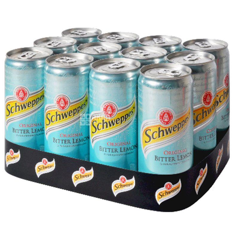 Schweppes, Bitter Lemon,  Упаковка 12 шт. по 0,33 л, Швепс, Ориджинал Биттер Лимон, Вода сладкая, с соком, ж/б