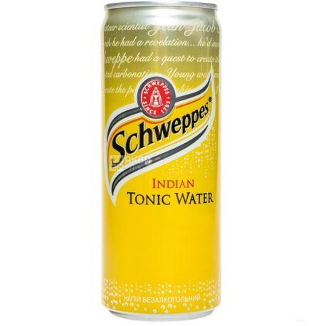 Schweppes, Indian Tonic, 0,33 л, Швепс, Индиан, Тоник травяной, безалкогольный, ж/б