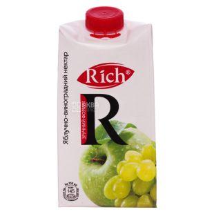 Rich, Яблочно-виноградный, 0,5 л, Рич, Нектар натуральный, осветленный