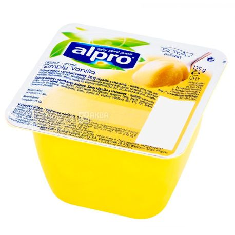 Alpro, Simply Vanilla, 125 г, Алпро, Десерт Ванільний, соєвий йогурт