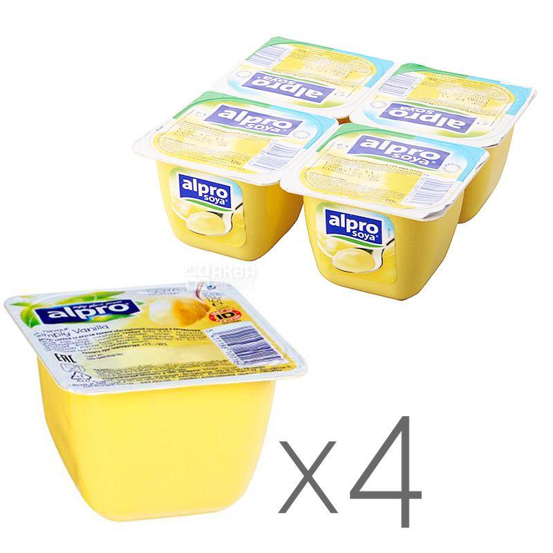Соевый йогурт Alpro Soya Vanilla, Упаковка 4 шт. по 125 г, Десерт соевый ванильный