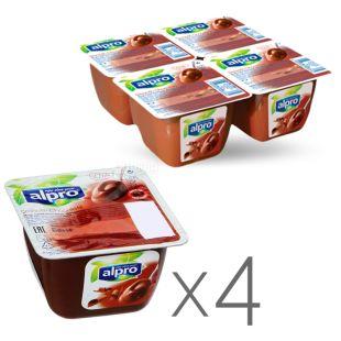 Alpro Soya Chocolate, Упаковка 4 шт. по 125 г, Десерт соевый шоколадный, соевый йогурт