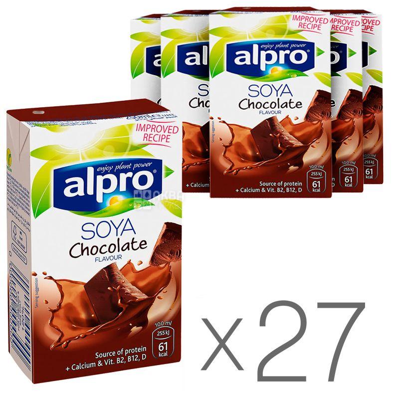 Alpro, Soya Chocolate, Упаковка 27 шт. по 250 мл, Алпро, Соєве молоко з шоколадом, вітамінізоване