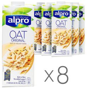 Alpro, Oat Original, Упаковка 8 шт. по 1 л, Алпро, Вівсяне молоко, оригінальне, вітамінізоване