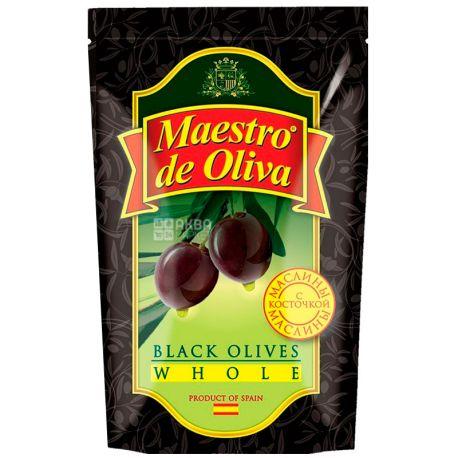 Maestro de Oliva, 170 г, Маслини з кісточкою, Чорні
