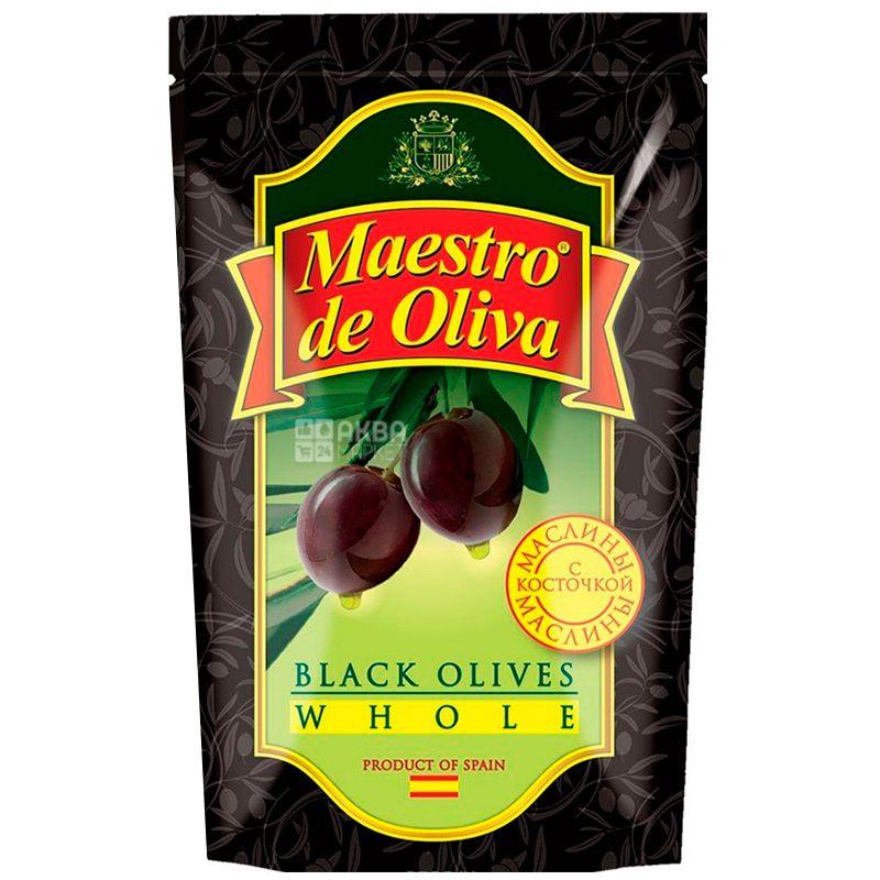 Maestro de Oliva, 170 г, Маслины с косточкой, Черные