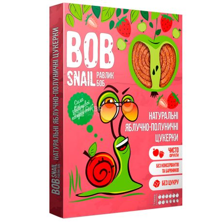 Bob Snail, 120г, Пастила, Яблучно-полунична, Картонна коробкг