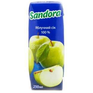 Sandora, 0,25 л, Сік яблучний, тетра пакет