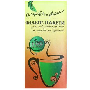 Filter bags 100 pcs., For brewing tea, 65x130 mm, TM Promtus