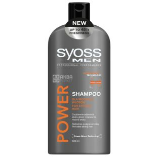 Syоss, 500 ml, shampoo, for men, Power & Strength