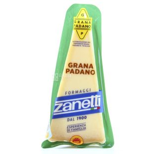 Zanetti Grana Padano, 200 g, Cheese, solid, piece, vacuum-packed