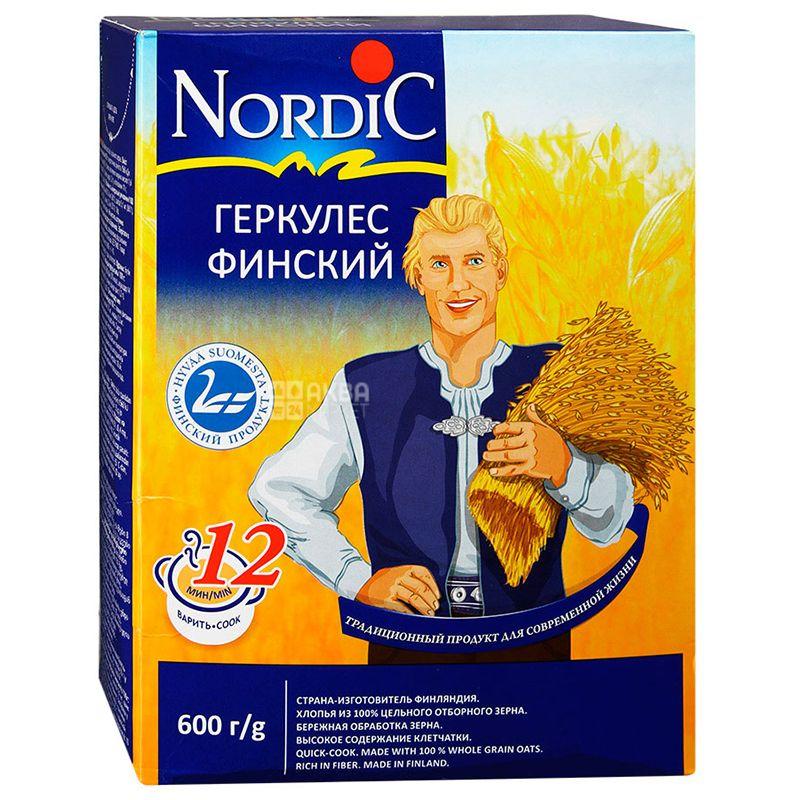 Nordic, 600 г, Хлопья Нордик, овсяные, геркулес финский
