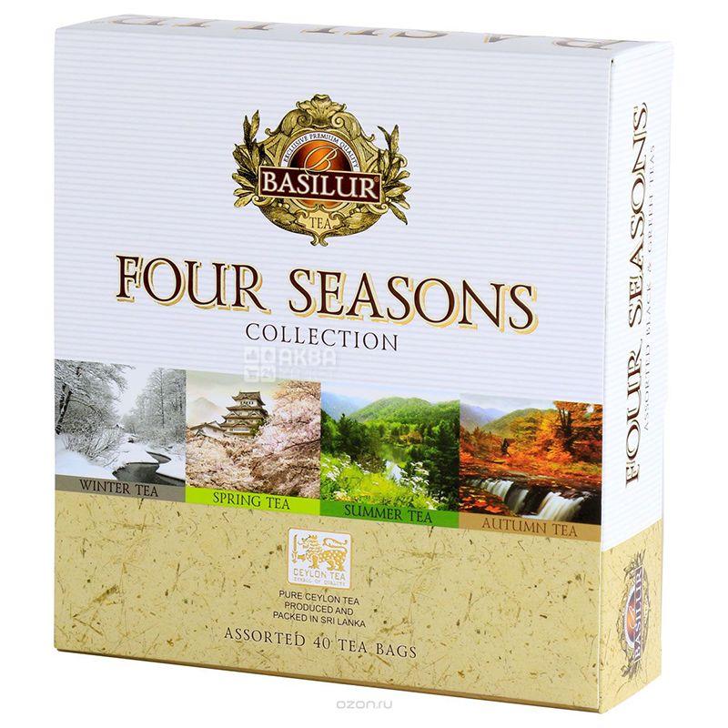 Basilur, Four Seasons, 40 пак., Чай Базилур, Ассорти, Четыре сезона, Подарочный набор