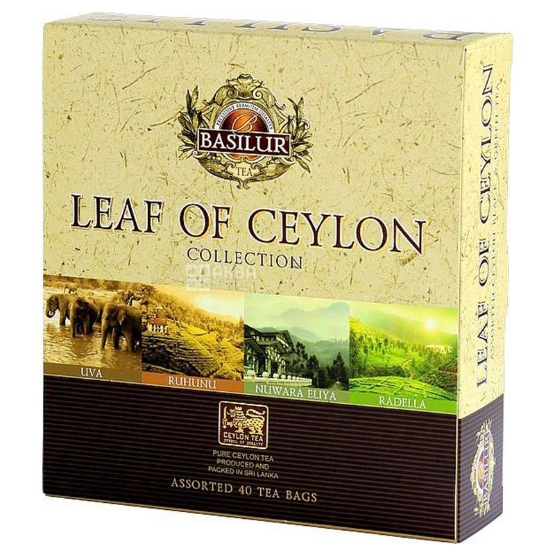 Basilur, Leaf of Ceylon, 40 пак., Чай Базілур, Чорний, Лист Цейлону, Подарунковий набір