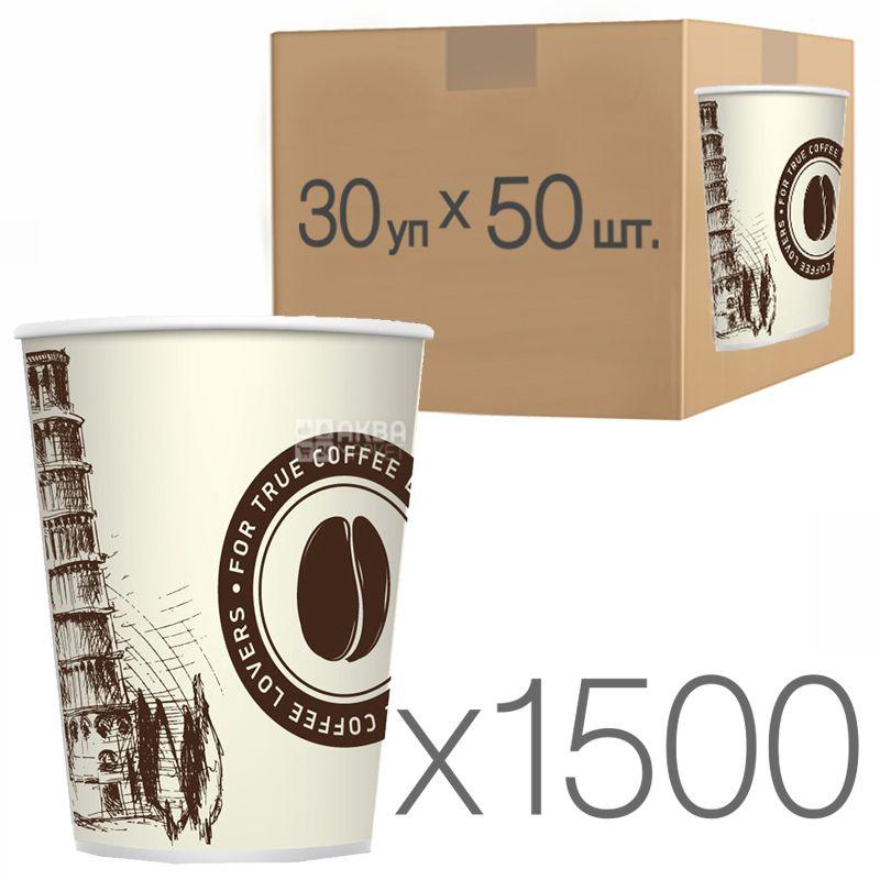 Стакан бумажный с рисунком Пизанская башня 250мл, 50 шт, 30 упаковок, D80