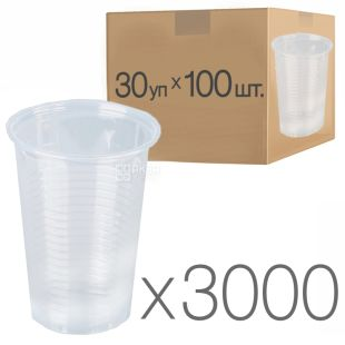 Plastic transparent glass 180 ml, 30 packs of 100 pieces