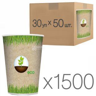 Эко Стакан бумажный с рисунком 250 мл, 50 шт., 30 упаковок, D80