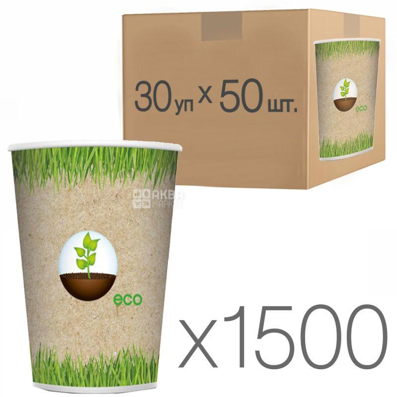 Еко Стакан паперовий з малюнком 250 мл, 50 шт., 30 упаковок, D80