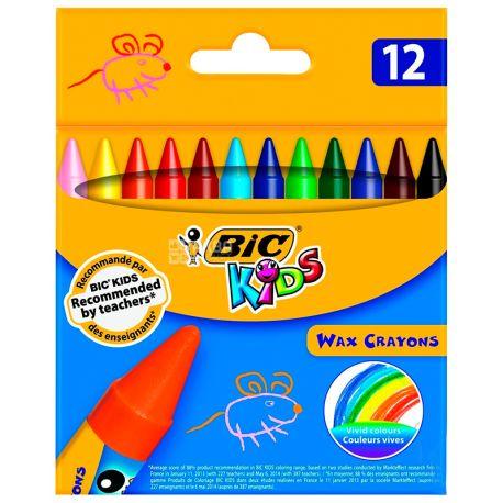 Bic, 12 шт., Восковые мелки, Цветные