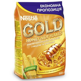 Nestle Gold, Ready breakfast with honey and peanuts, 500 g, m / s