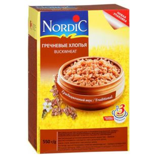 Nordic, 550 g, Buckwheat Flakes, Instant, cardboard