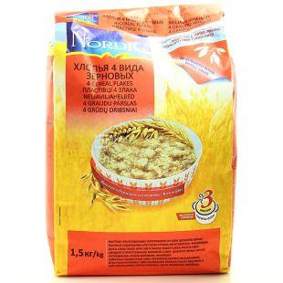 Nordic, 1,5 кг, Хлопья из 4-х видов зерновых, Быстрого приготовления, м/у