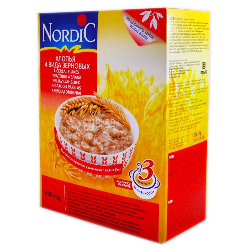Nordic, 600 г, Хлопья Нордик, из 4-х видов зерновых, быстрого приготовления