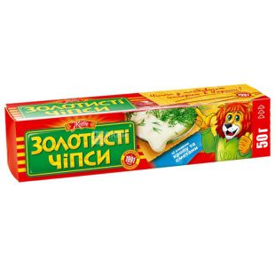 Золотистые чипсы, 50 г, Укроп и сметана, М/у