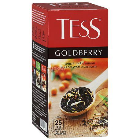 Tess, Goldberry, 25 пак., Чай Тесс, Голдберрі, чорний з ароматом обліпихи і айви, м / у