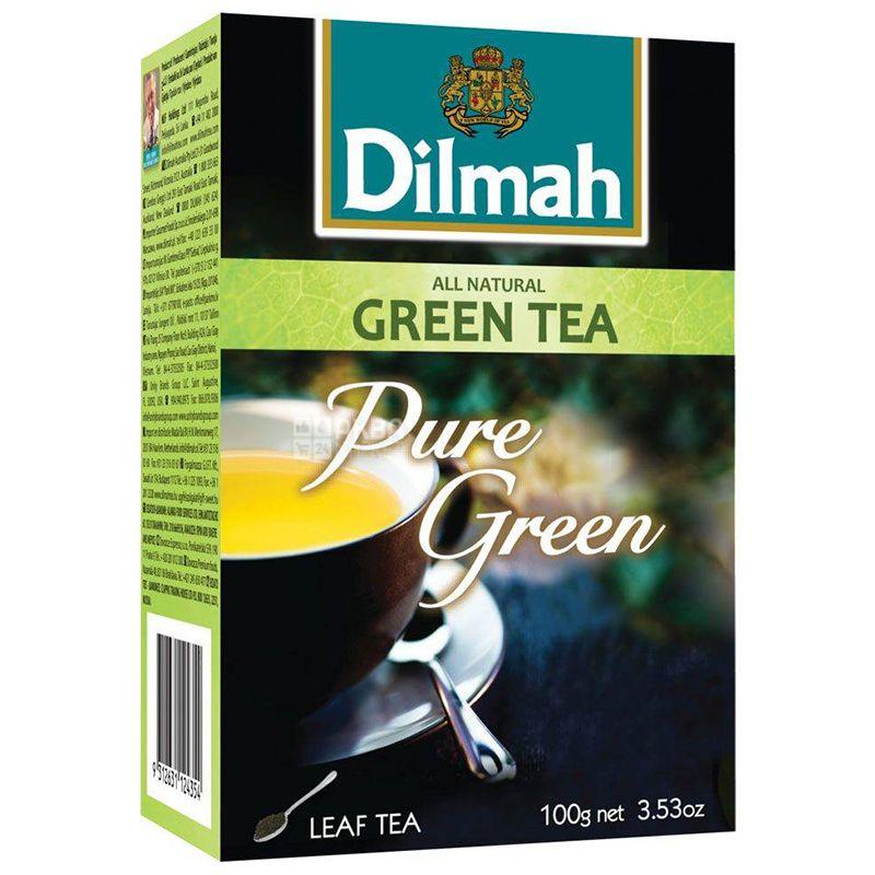 Dilmah, Pure Green, 100 г, Чай Дилма, зеленый, листовой