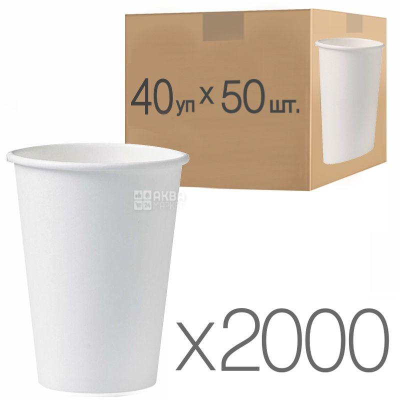 Стакан паперовий білий 250 мл, 50 шт., 40 упаковок, D75