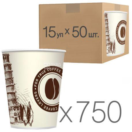 Стакан бумажный С рисунком Пизанская башня 400 мл, 50 шт, 15 упаковок, D92