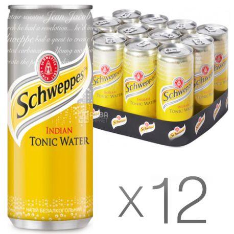 Schweppes, Indian Tonic, Упаковка 12 шт. по 0,33 л, Швепс, Індіан, Тонік трав'яний, безалкогольний, ж/б