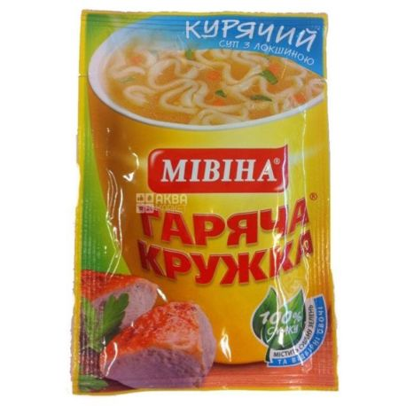Мівіна, 15 г, Суп, Гаряча Кружка, Курячий з локшиною, м/у