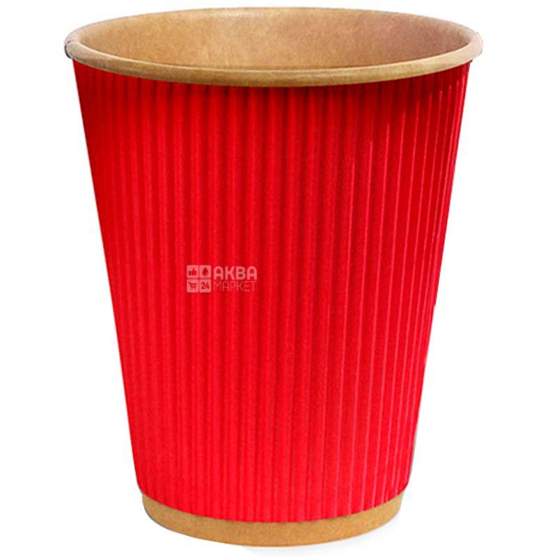 Craft Стакан паперовий гофрований червоний, 110 мл, 25 шт, D60