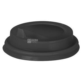 Кришка для одноразового стакана 250 мл, Чорна, 50 шт, D80