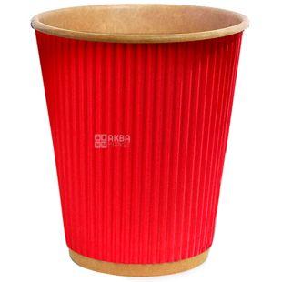 Craft Стакан бумажный гофрированный красный 400 мл, 25 шт, D90