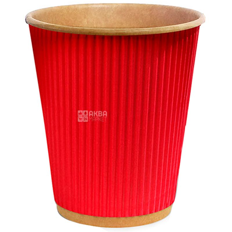 Craft Стакан паперовий гофрований червоний 400 мл, 25 шт, D90