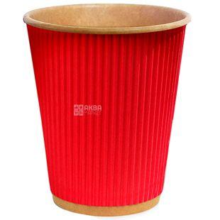 Крафт Стакан бумажный гофрированный красный 250 мл, 25 шт, D80