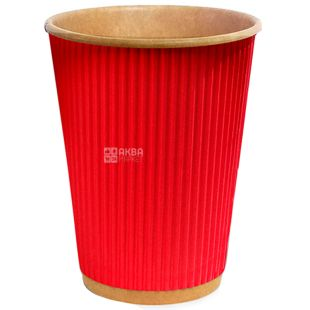 Craft Glass paper red corrugated 180 ml, 25 pcs, D71