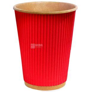 Craft Стакан бумажный гофрированный красный 180 мл, 25 шт, D71